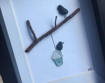 Sea Glass Art, Maine Sea Glass, Pebble Art, Genuine Sea Glass, Sea Glass Bird, Framed Art