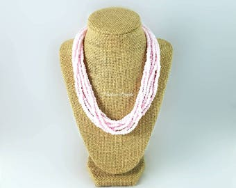 Multi strand necklace, pink necklace, silver accent, light pink bead necklace, adjustable length, bead necklace, light pink and silver