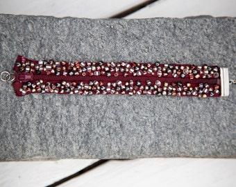Maroon colored zipper bracelet