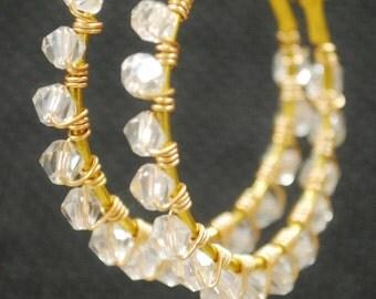 Crystal Gold Wire Wrapped Hoop Earrings