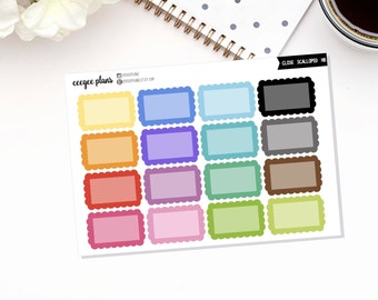 Closed Scalloped Half Boxes | 16 Functional Planner Stickers for Erin Condren ECLP VERTICAL