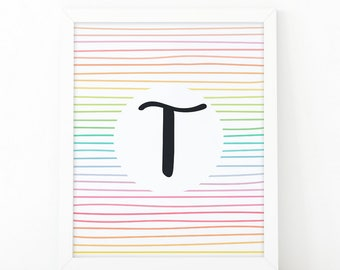 Letter T, Initial wall art, Colorful  Stripes, initial Printable, Colors, Nursery Initial Print, Instant download, initial print, printable