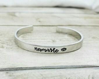 Namaste Bracelet - Yoga Jewelry - Lotus Flower - Gift For Her