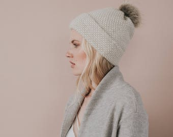 Baby Alpaca Knit Hat// Faux Fur Pom Pom Toque//Luxury Hat// Blend of Alpaca Wool and Silk// Beige Colour