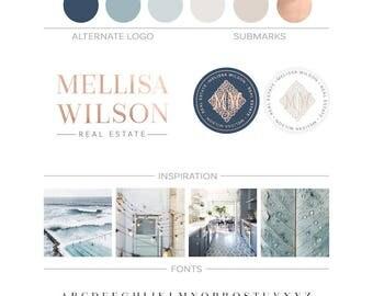 Real Estate Logo Branding Package, House Key Logo Realty Agent Logo Rose Gold Branding Kit, Realtor Logo Monogram Logo Realtor Marketing