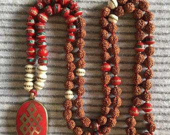 108mala beads: Tibetan bead Rudraksha Mala | earthy mala beads| gift for yogi| meditation necklace| yoga gift ideas| bone mala |Bone Jewelry