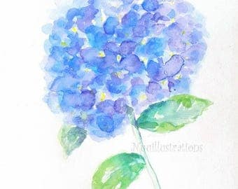 9x12 ORIGINAL Watercolor Painting Blue Hydrangea Flower Floral Hand Painted Wall Decor for Her