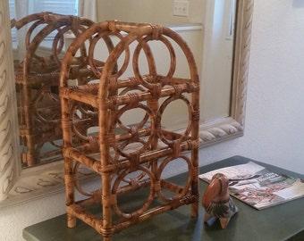 Vintage BOHO Rattan Bamboo Hand Painted Tortoise Shell Wine Rack