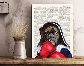 Boxer Dog Art Print Cool Dog Art, Dog Wall Decor Art, Dog Artwork Print on Dictionary Page, Gift idea