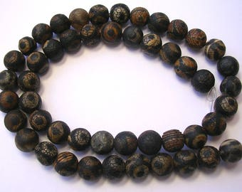 8mm Black Beads Black Agate Rounds Tzi Agate 15 inch Strand 46 Beads 1mm Hole Size