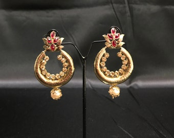 Indian Earrings - Kundan Earrings - Rani Hot Pink Antique Gold Earrings - Indian Jewelry - Kundan Jewelry - Bollywood Jewelry - Pakistani