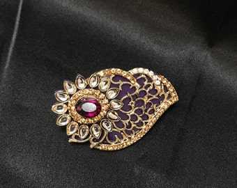 Purple Gold Brooch - Indian Brooch - Indian Bridal - Indian Jewelry - Pakistani Jewelry - Saree Brooch - Saree Pin - South Indian - Desi -