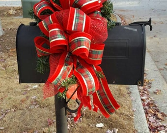 Mailbox Topper - Christmas Red, Gold and Green Mailbox Topper - Christmas Mailbox Swag - FlorEssenceDesigns