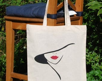 "Tote bag ""Lady in hat"", cotton bag, shoulder bag, shopping bag, reusable bag, shopper bag, canvas bag, hand painted bag"