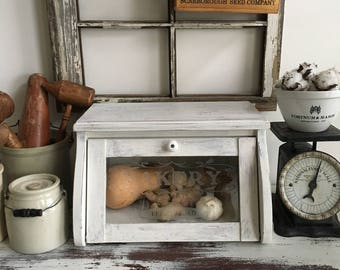 Bread Box ~ Glass Front ~ French Country Kitchen ~ Farmhouse Kitchen ~ Wood with Chippy White Paint Finish ~ Vegetable Bin ~ Kitchen Storage