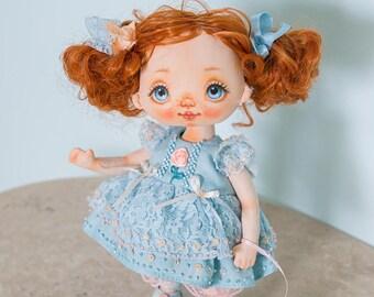 Textile doll, rag doll, fabric doll, cloth doll, art doll, vintage doll, interior doll, OOAK doll, home decor, blue, doll - AliceMoon #92