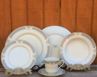 27pc Dinnerware Set Ivory China by Mikasa L2808 Lexington | 6 Dinner Plates - 6 Salad Bowls - 6 Bread & Butter Plates - 5 Saucers -4 Teacups