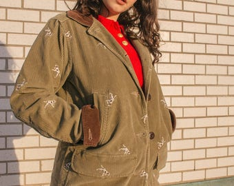 Vintage Womens RARE Green and Brown Corduroy L.L Bean Jacket with Dalmation Design | Corduroy Barn Jacket with Brown Collars | Field Coat |
