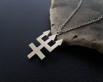 Trident necklace -neptune symbol - satanic jewelry - occult jewelry - inverted cross - trident pendant - Watain necklace - planet symbol