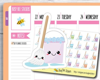 Mop and Bucket Planner Stickers, Cleaning Stickers, Chore Stickers, Household, Kawaii, Mini, Happy Planner Stickers, Erin Condren Stickers