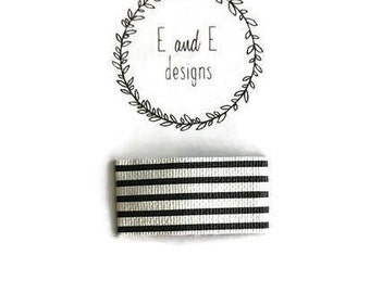 Black and White Striped Leather Snap Hair Clip