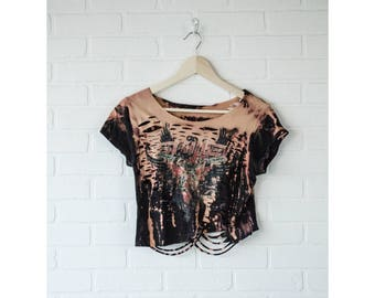 Skillet- Distressed shirt - Custom band shirt - Reworked band tee - Bleached crop top - Shredded Dreams - X-Small