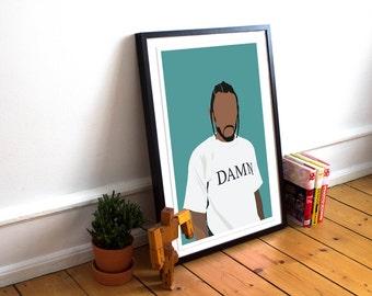 Kendrick Lamar Poster / Kendrick Lamar Print / Minimalist Art / Music Poster / Damn / Hip Hop poster / Rap Poster / Damn Poster