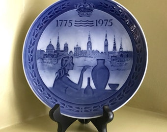 Vintage Royal Copenhagen Bicentenary 1775-1975 Plate - 200 Year Anniversary - Made in Denmark - Blue and White