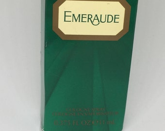 "Emeraude Boxed Cologne Spray .375 oz 3 1/2"" Tall Full"