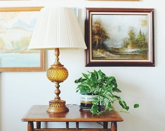 Vintage Lamp | Amber Glass Lamp | Accent Lamp | Bedside Lamp | Vintage Amber Lamp | Vintage Lighting | End Table Lamp | Wedding Gift