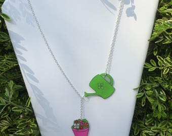 Watering can and Flowerpot crazy plastic necklace