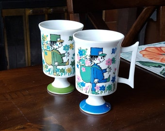 1960's Royal Crown Arnart MAIL CALL By MARIA #2741 Footed Mug - Set of Two