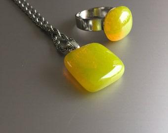 Sun Yellow-jewellery-Glass pendant-jewelry-pendant-glass ring yellow-transparent glass-gift woman-Birthday women-Schmuck Frau-Sun yellow glass-chain