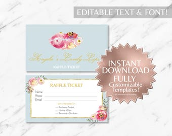 Peach|Floral|Dusty Blue|LipSense Raffle Ticket|LipSense Giveaway|LipSense|SeneGence|LipSense Party|Distributor|Marketing|Event|Printable