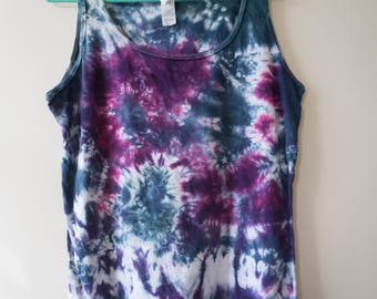 L Ladies Purple, Blue, and White Tie Dye Tank Top