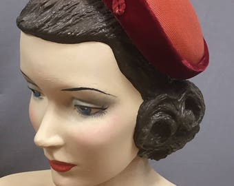 50s red Juliette Cap with velvet and flower trim