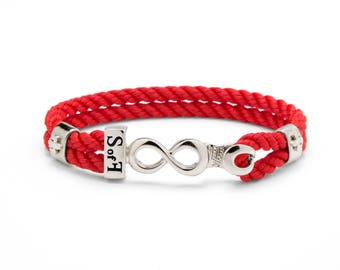 Infinity Bracelet Silver with Red Marine Rope (Free shipping)