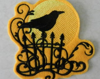 Sunset Raven Iron-on Patch // Iron on Patch // Embroidered Patch