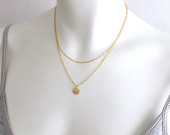 DELICAT LAYERING SET of 2, Pearl & Disc Necklace Gold, 14k gold filled, versatile refined, minimalistic, everyday modern, by Little Motives