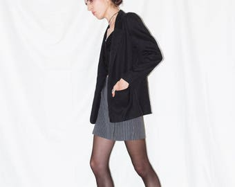 Vintage 90s Linen/Poly Semi-Sheer Faded Black Blazer with Rounded Shoulders size 5/6