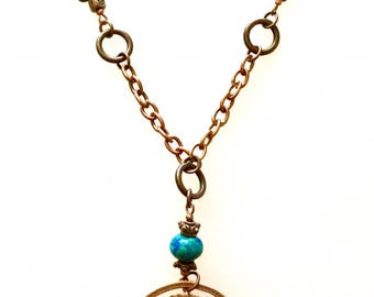 Copper and Teal Pendant