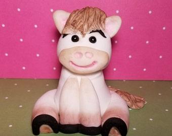 Fondant Edible Horse Pony Baby 1st Birthday Boy Girl Cake Topper