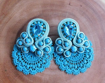 Soutache| Soutache Earrings| Blue Soutache earrings| Soutache Studs| Stud earrings| Bridesmaids earrings| Lace Earrings| Lace Soutache