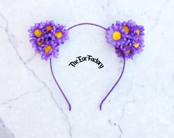 Flower Cat Ears, Floral Cat Ears, Cat Headband, Flower Cat Headband, Cat Ears, Daisy Cat Ears, Cat Ears Headband, Cat Headband, Flower Ears
