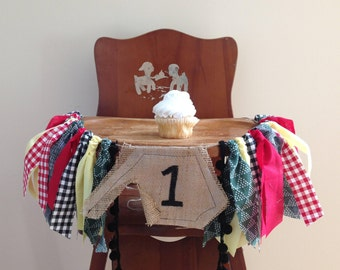Camping Themed Birthday Banner / Highchair Banner / Cake Smash Prop / Photo Backdrop / Party Decor / Wall Hanging / Lumberjack / Plaid