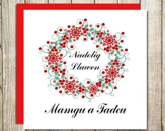 Welsh Grandparents Christmas Card - Nadolig Llawen Mamgu a Tadcu/ Nain a Taid - Family Christmas Cards - Welsh Christmas Card - Welsh Cards