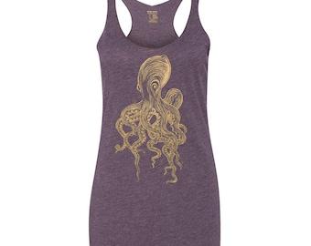 Women's Octopus Tank Top, Tri-Blend Racerback