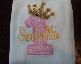 Personalized Embroidered Princess Birthday Shirt/Crown Age/Birthday Number with Name/Glitter Crown