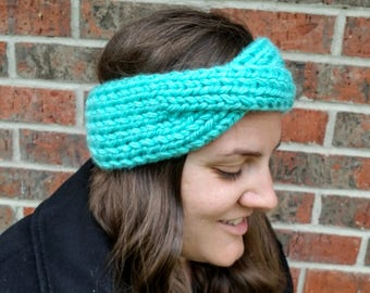 Knitted Ear Warmers Headband // Ready to Ship // Crossed Front