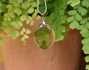 Fern pendant necklace, nature, resin jewellery